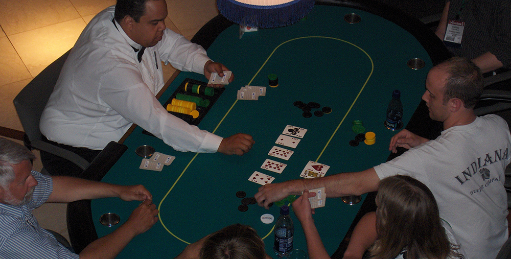 Guests Playing Texas Hold'em at a Casino Theme Party at the Indiana Historical Society in Indianapolis, Indiana